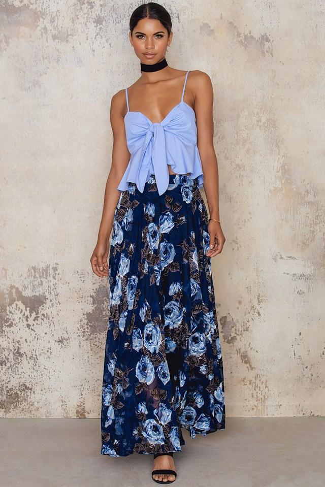 Floral Burnout Maxi Skirt Navy