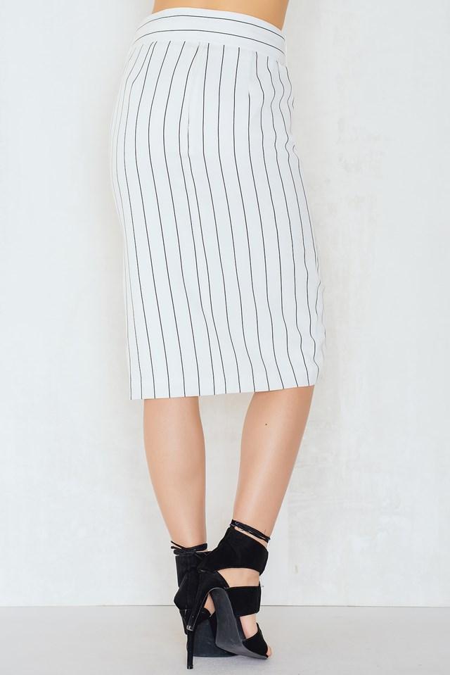 Skinny Stripe Pencil Skirt White/Black