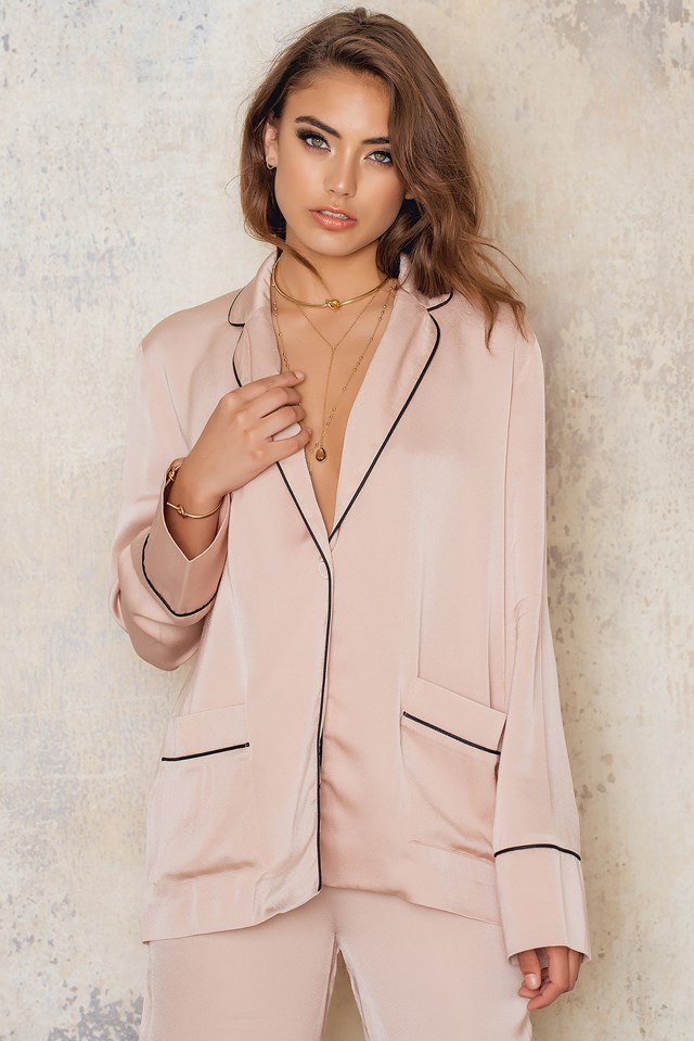 Contrast Blazer Dusty Light Pink