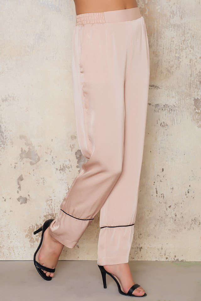 Contrast Pants Dusty Light Pink