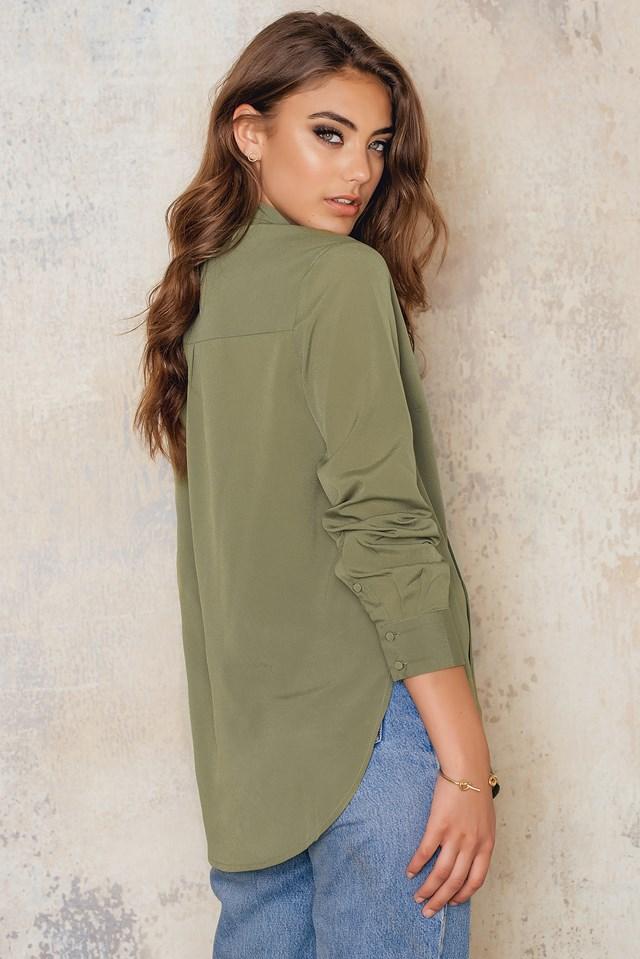 Bluzka Tie Neck Army Green