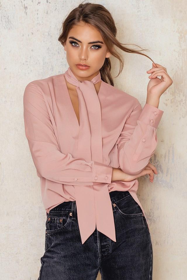 Tie Neck Blouse Dusty Pink