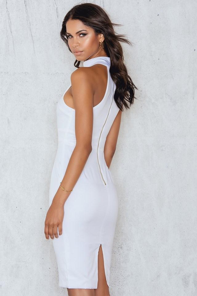 Lace Me Up Midi Dress White