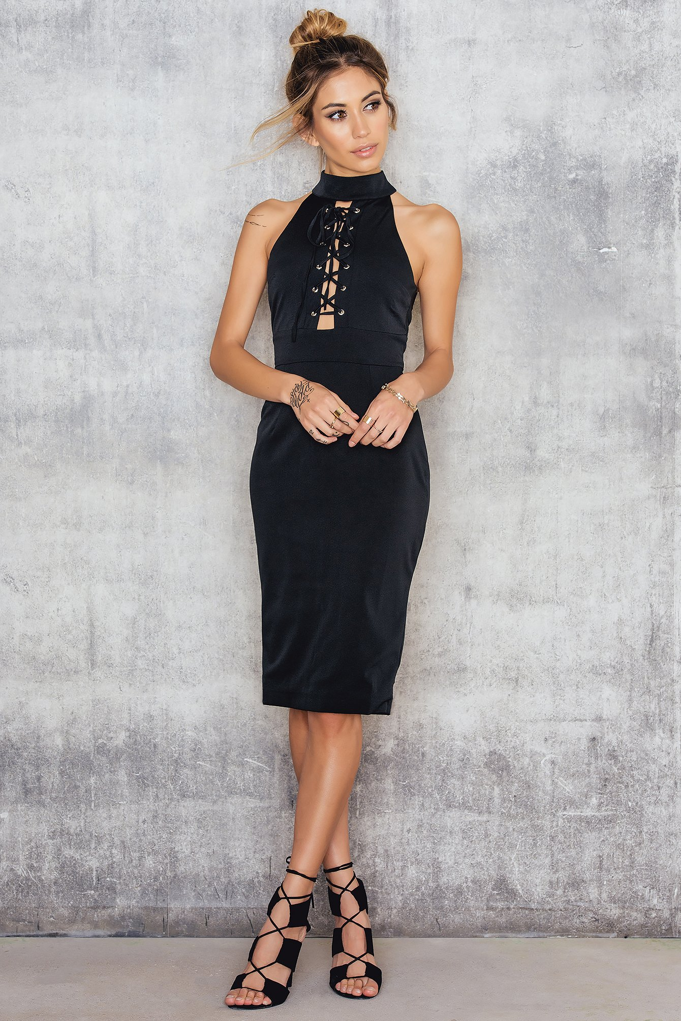 Black Lace Me Up Midi Dress