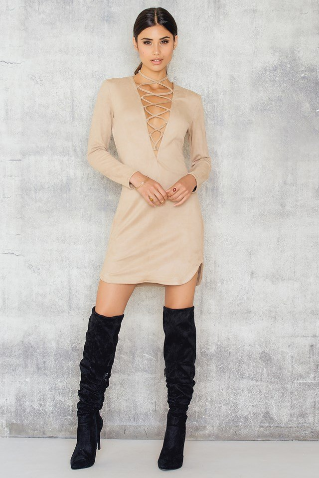 Pretty Tied Up Dress Cream Suede