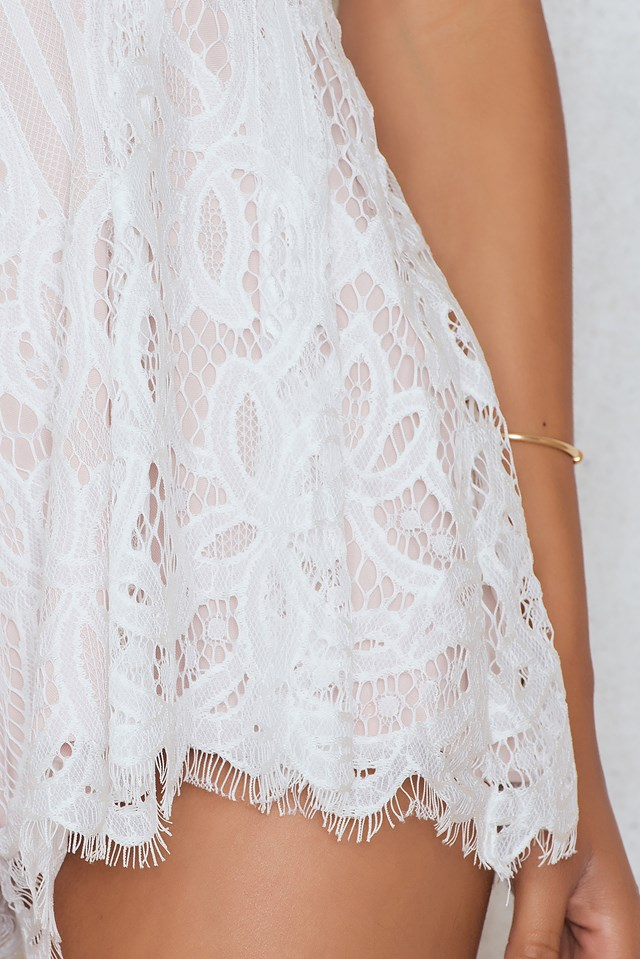 Line Of Fire Playsuit White