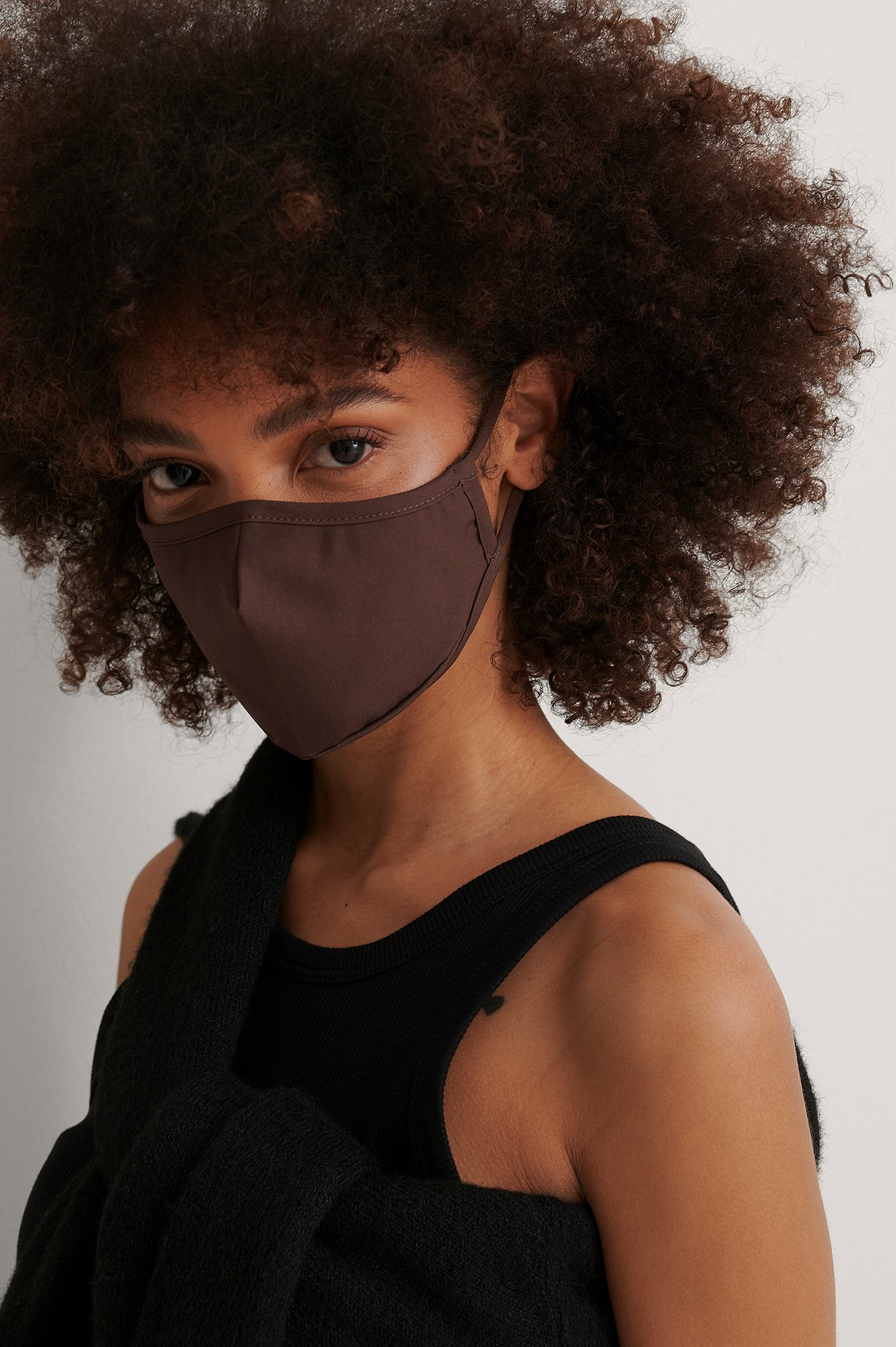 Dark Brown 2-Pack Solid Fitted Ansiktsmasker