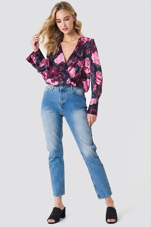 Wrap and Floral Blouse on Jeans