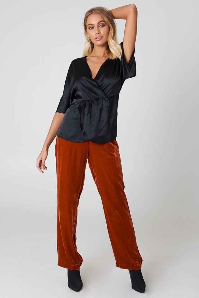 Satin Blouse with Red Trousers