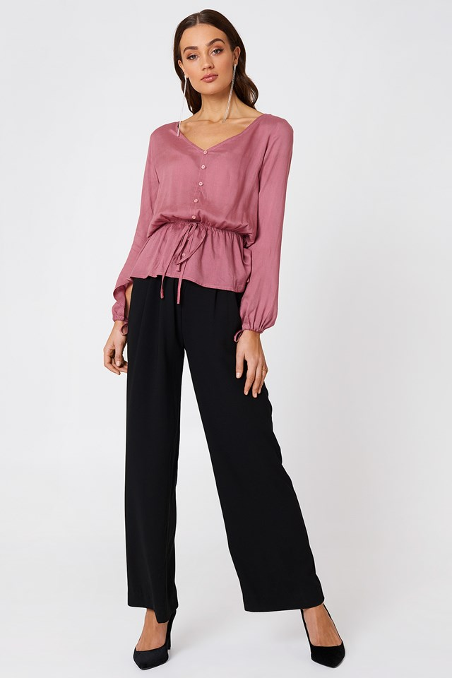 Buttoned Blouse with Wide-Leg Pants