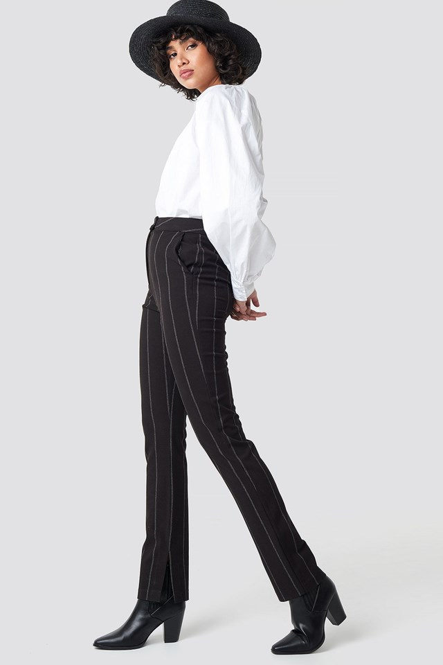High Waist Striped Pants Black Outfit