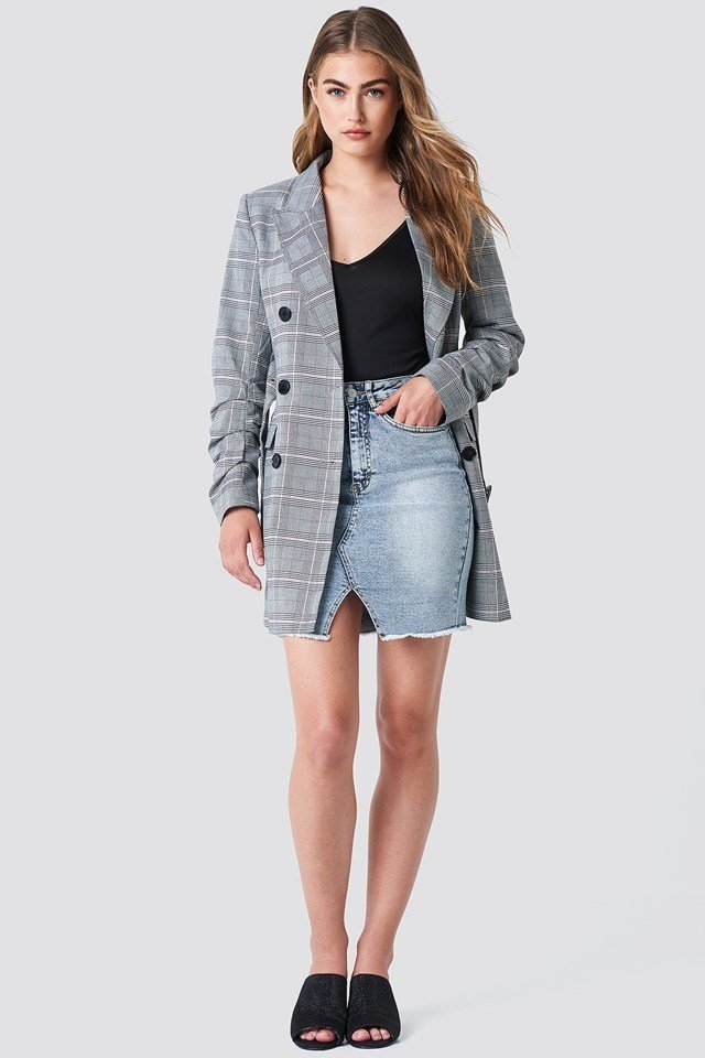 Checked Blazer with Denim Skirt
