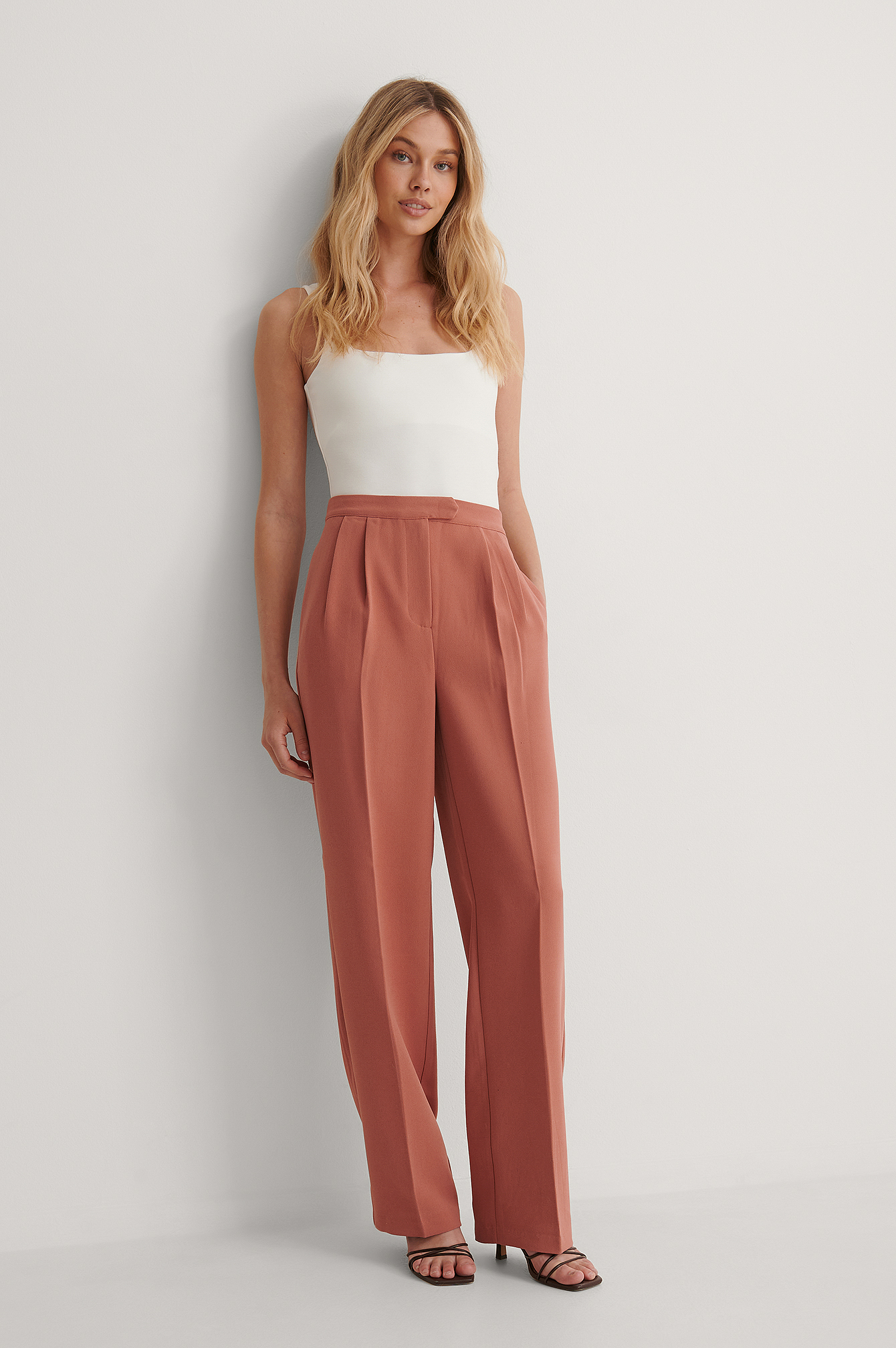 Pink Tailored Wide Leg Trousers