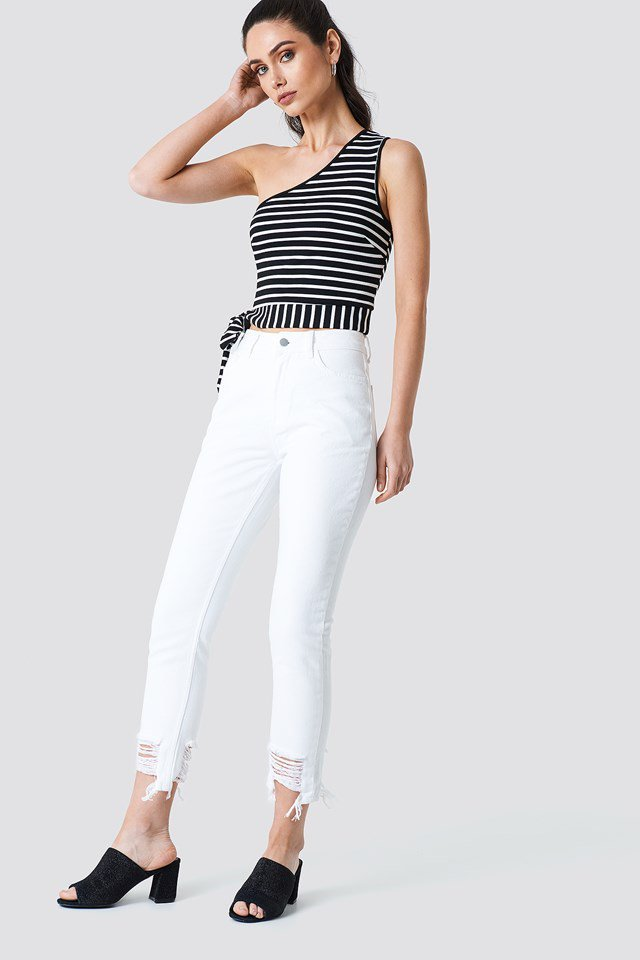 Striped One Shoulder Top NA-KD.COM