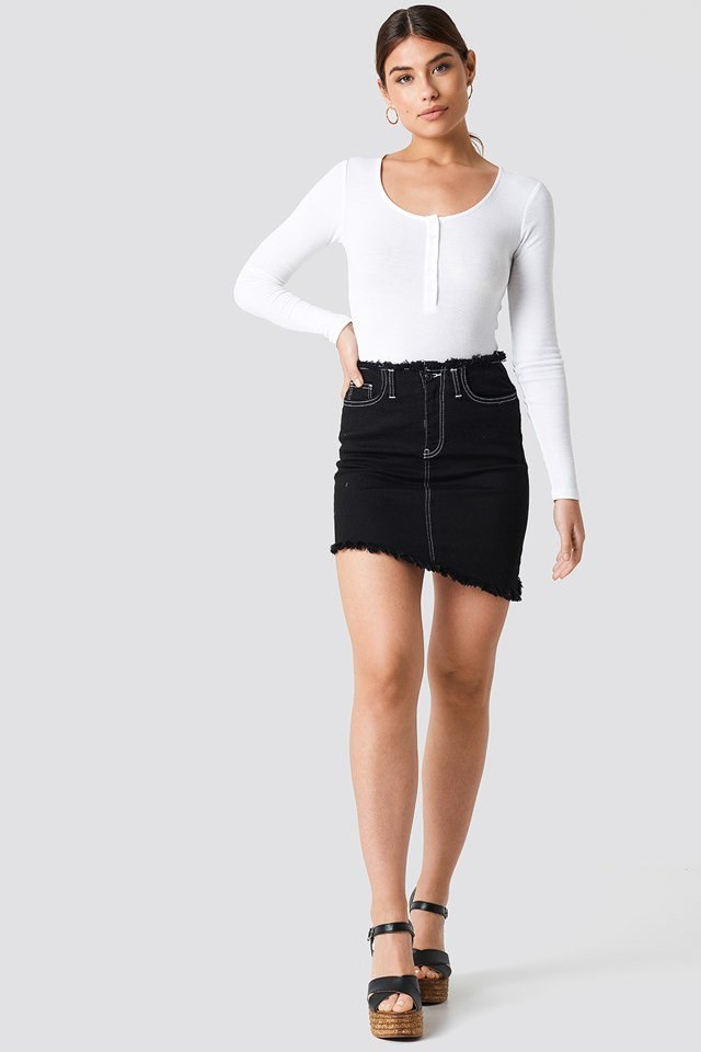 Ribbed Top with Asymmetric Skirt