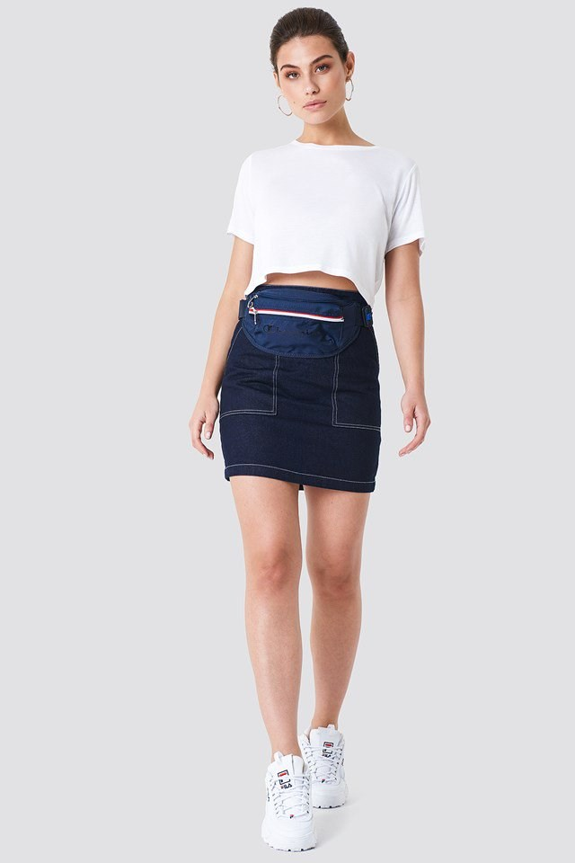 Denim Skirt with Basic Top