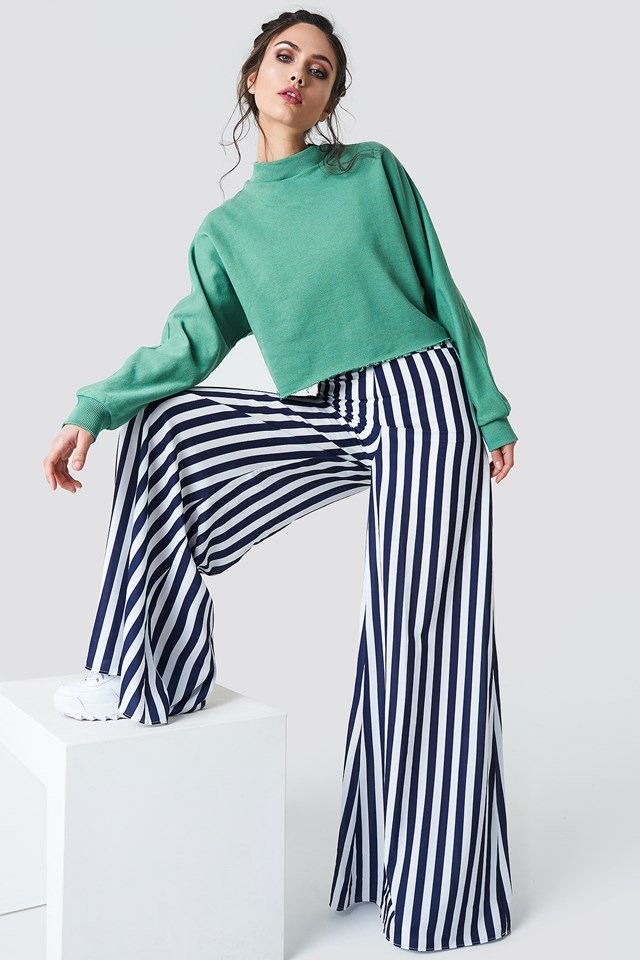 Striped Trousers with Oversize Sweater