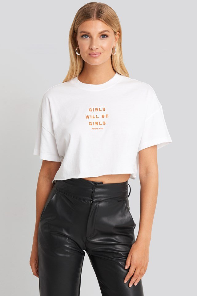 A Cropped Oversized Tee White