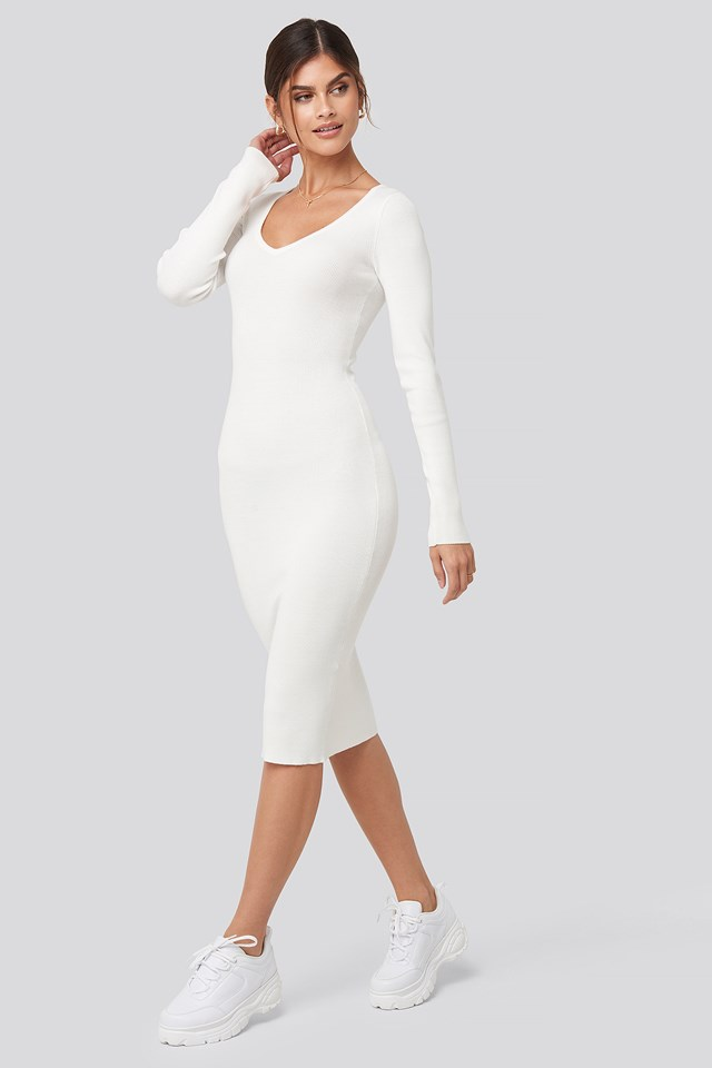 Deep V-Neck Rib Dress Adorable Caro x NA-KD