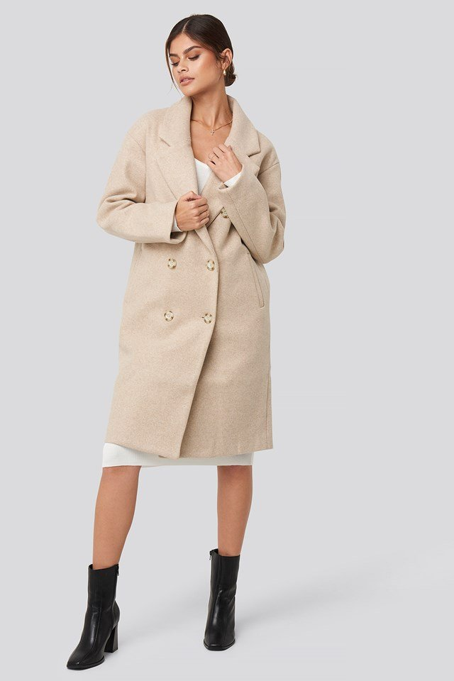 Long Double Breasted Coat Beige