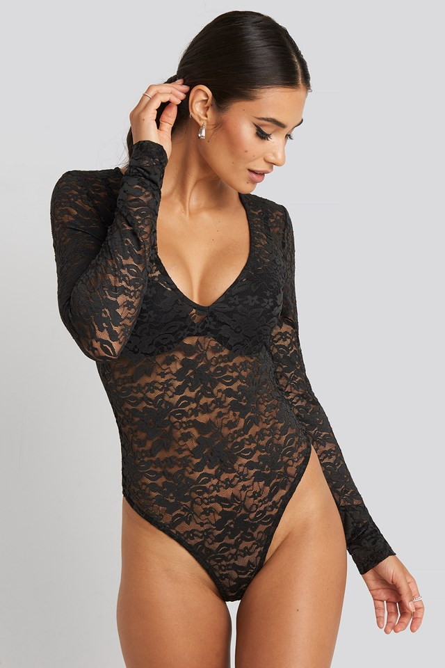 Long Sleeve Lace Body Black