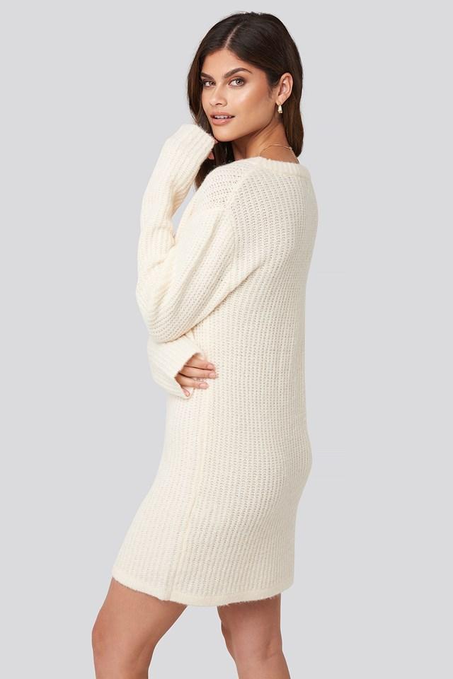 Oversized Knitted Dress White
