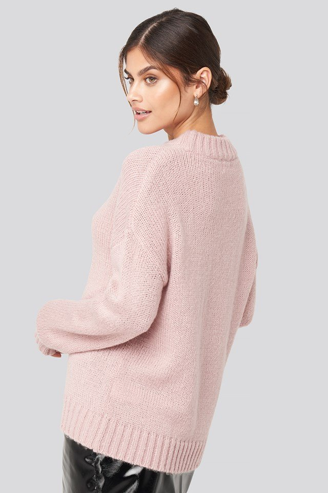 Wide Rib Knitted Sweater Pink