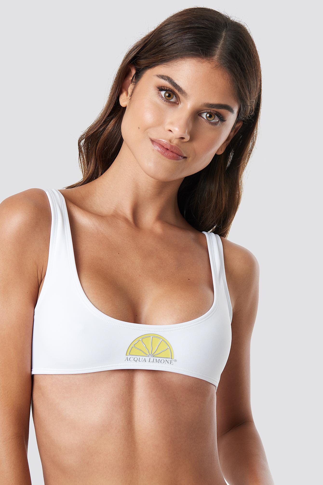 ACQUA LIMONE Juan Le Pins Bikini Top - White