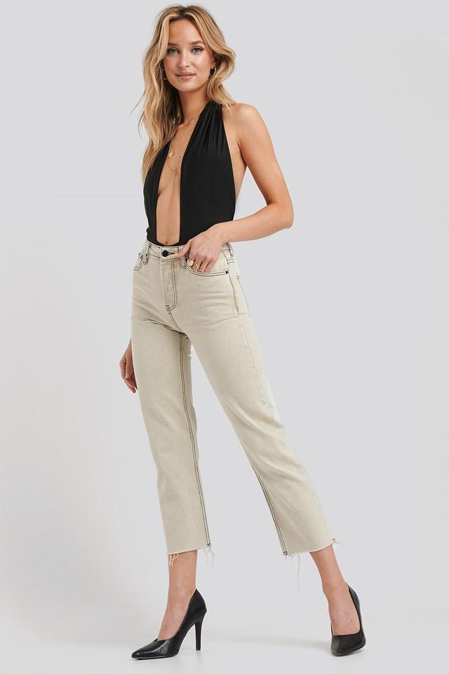 Mia Straight Wash Jeans Beige