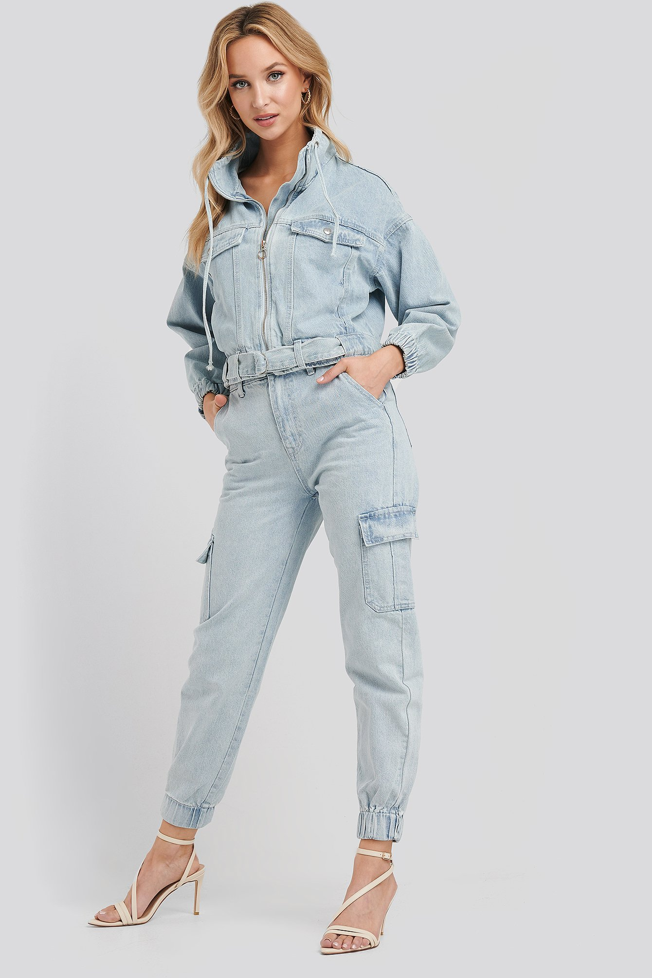 adika x na-kd -  Stella Denim Cargo Pants - Blue