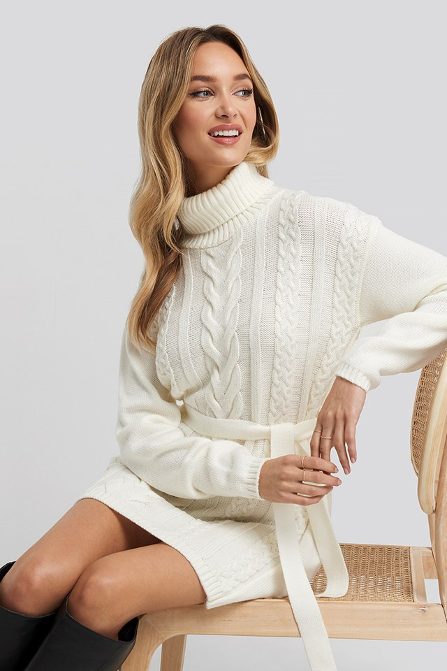 Cable Knit Detail Dress White