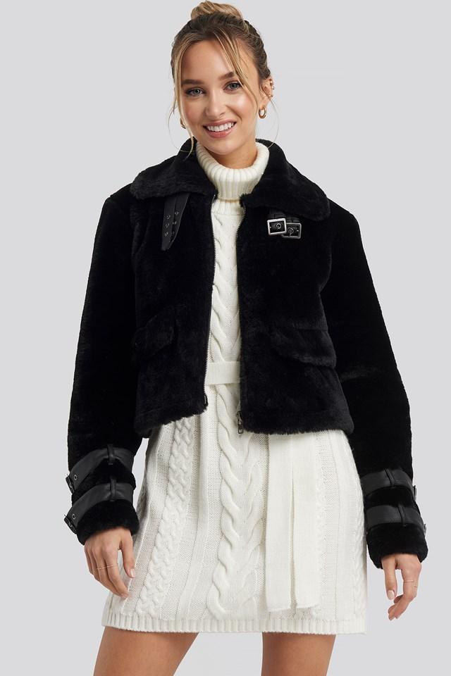 Faux Fur Cropped Jacket Black