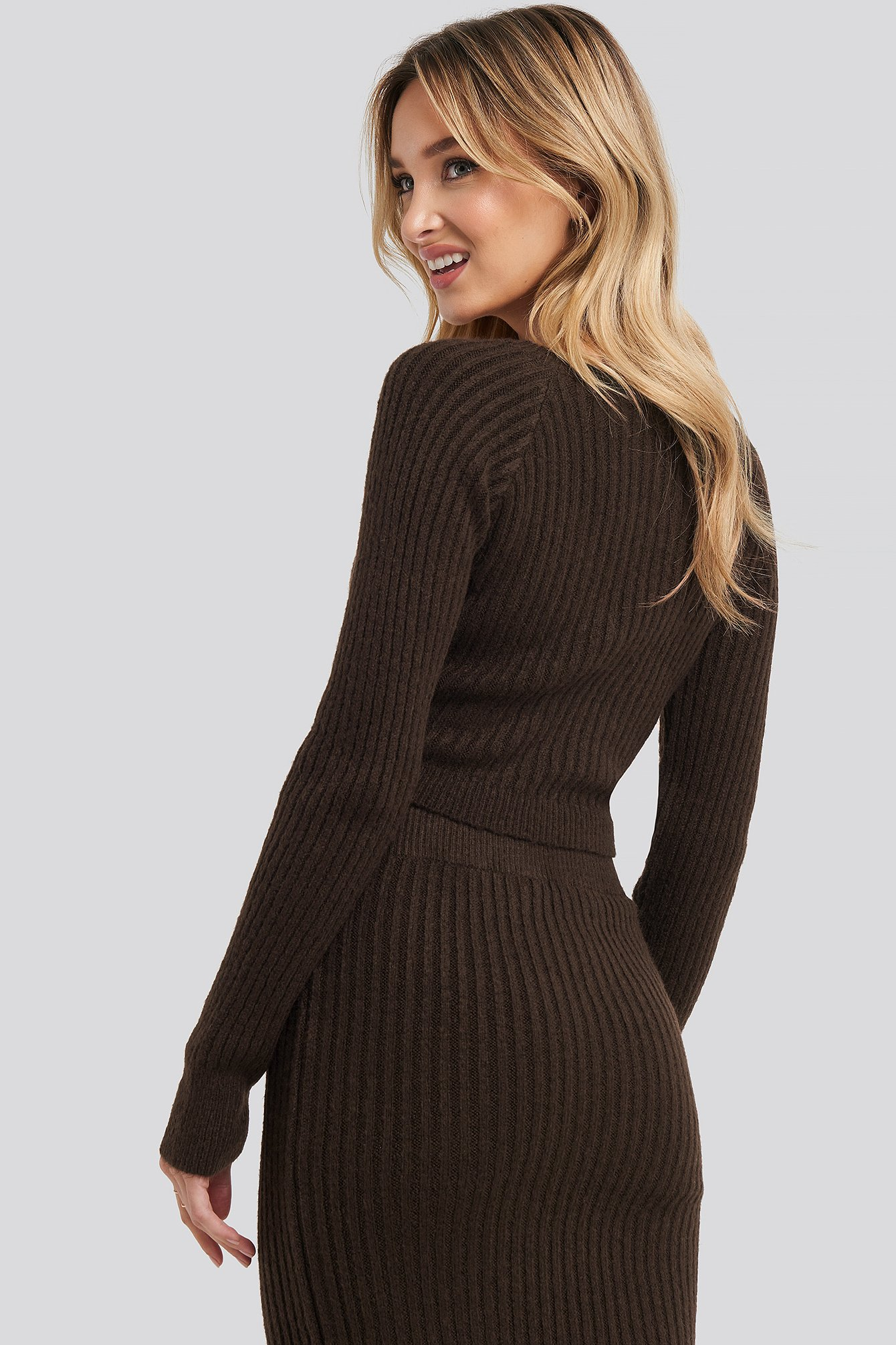 Chocolate Overlap Rib Knitted Sweater