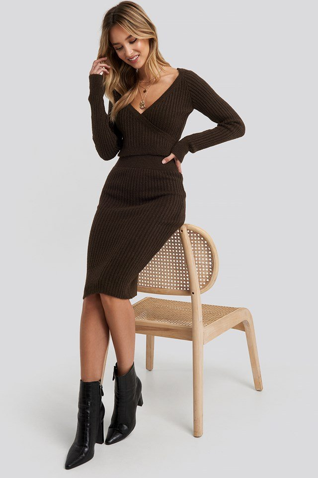 Rib Knitted Skirt Chocolate