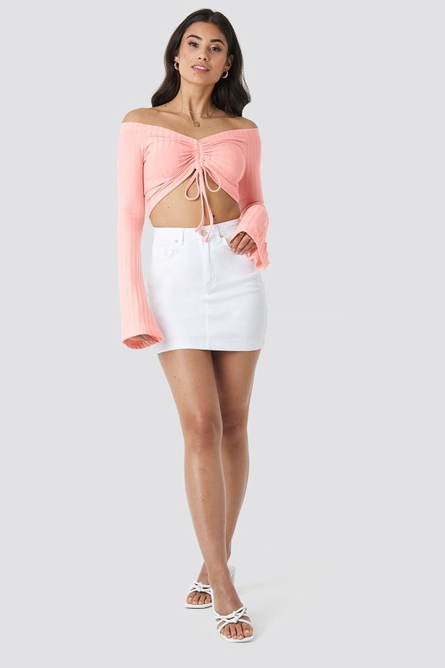 Drawstring Off Shoulder Top Pastel Pink