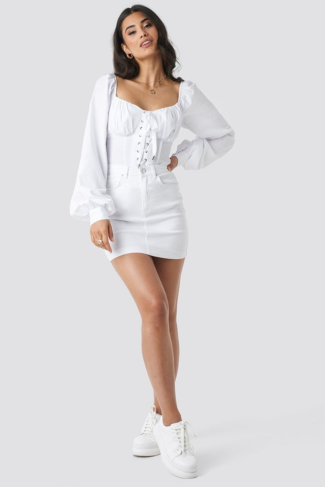 Lacing Cup Blouse White
