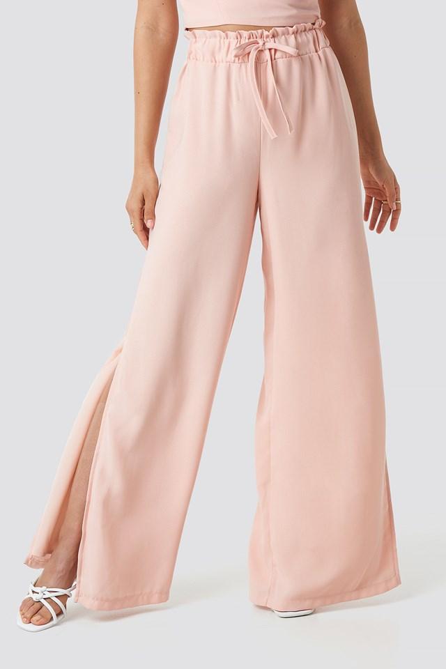Side Slit Wide Pants Pastel Pink