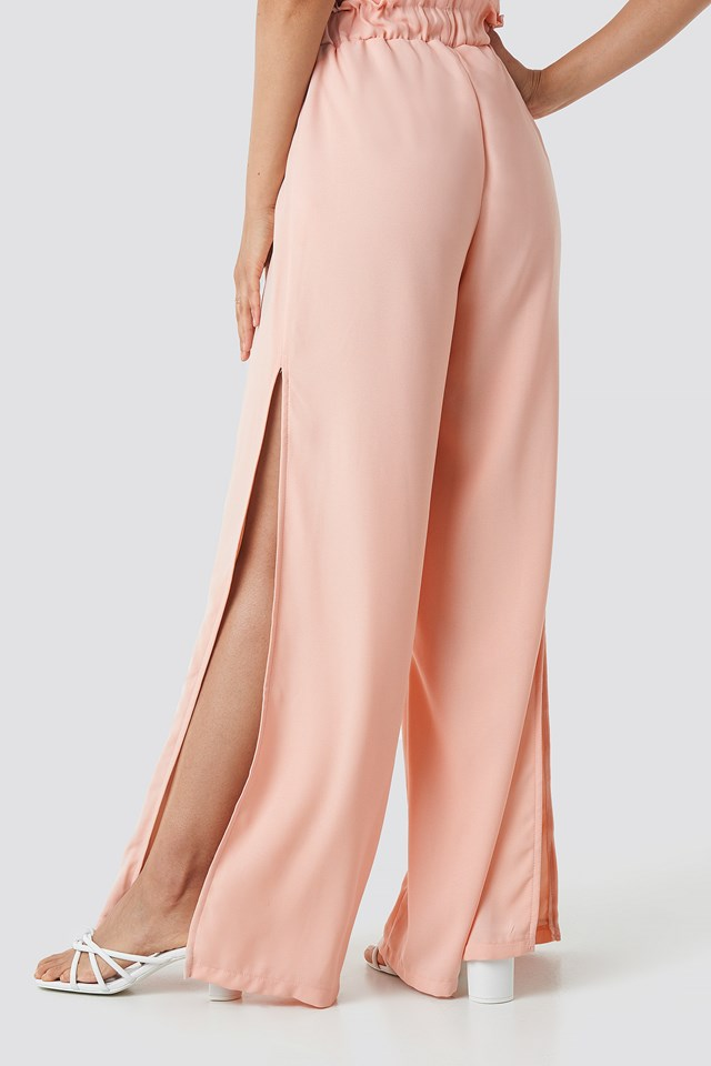 Side Slit Wide Pants Pastel Pink