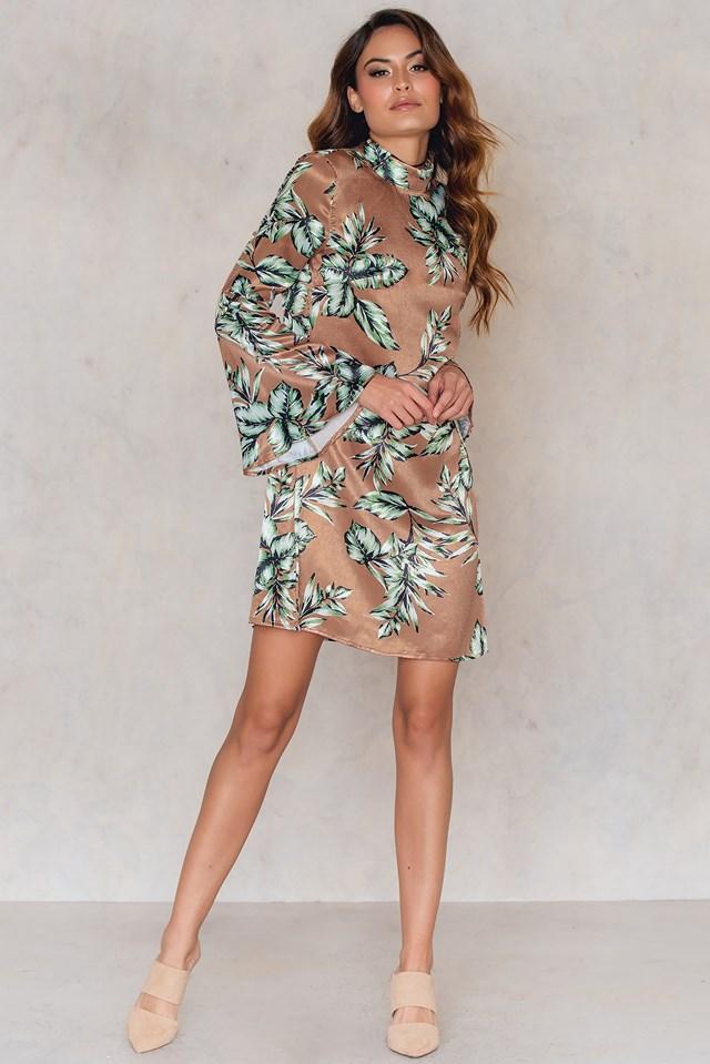 Camie Dress Cognac Print