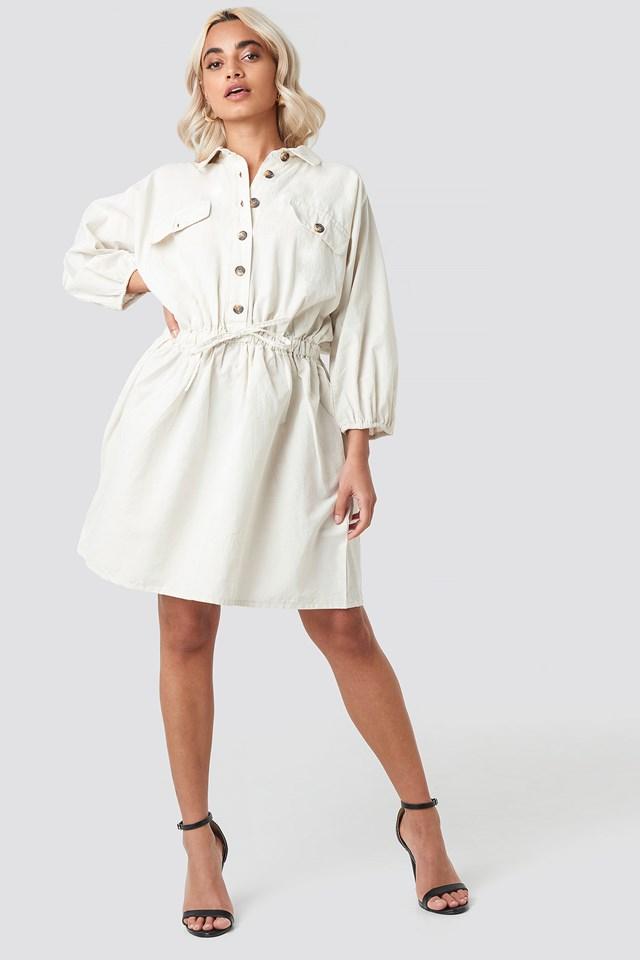 Batwing Drawcord Mini Dress Beige