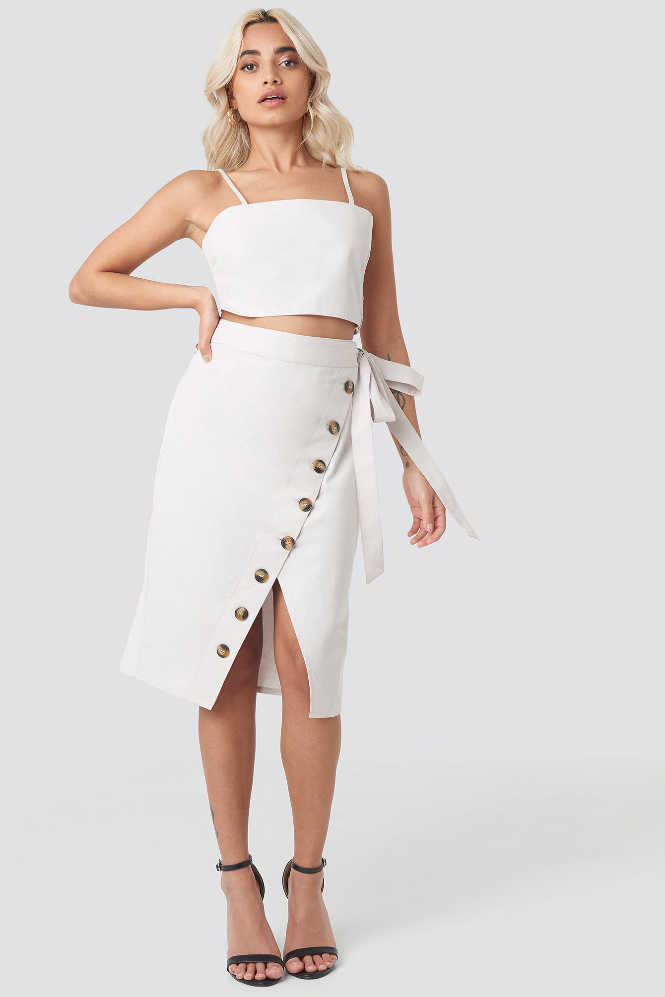 Belted Button Up Skirt NA-KD.COM
