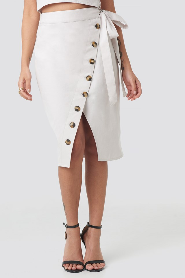 Belted Button Up Skirt Beige