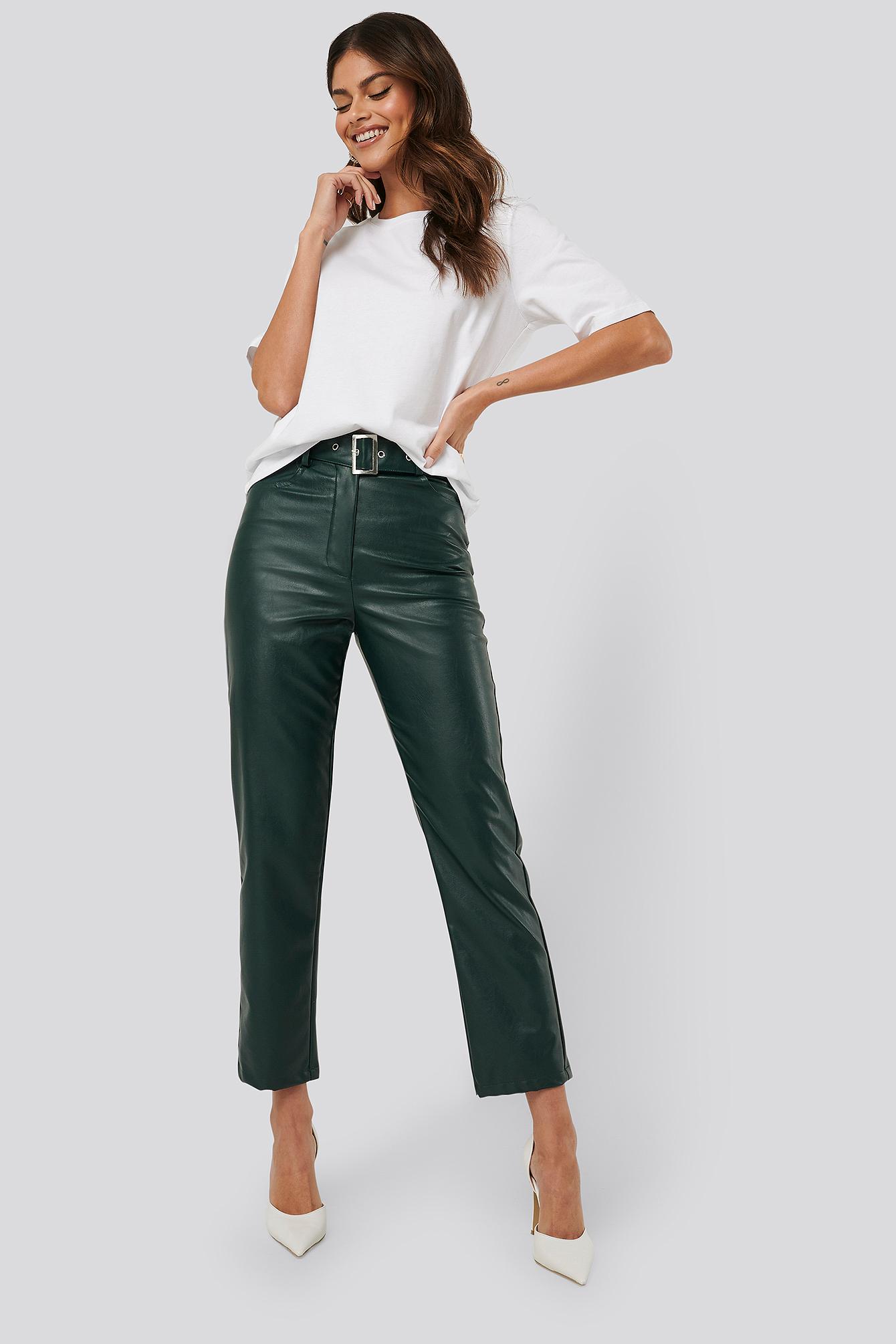 afj x na-kd -  Belted Pu Leather Pants - Green