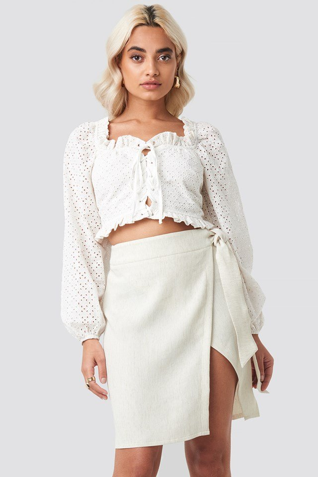 Belted Wrap Mini Skirt Stone