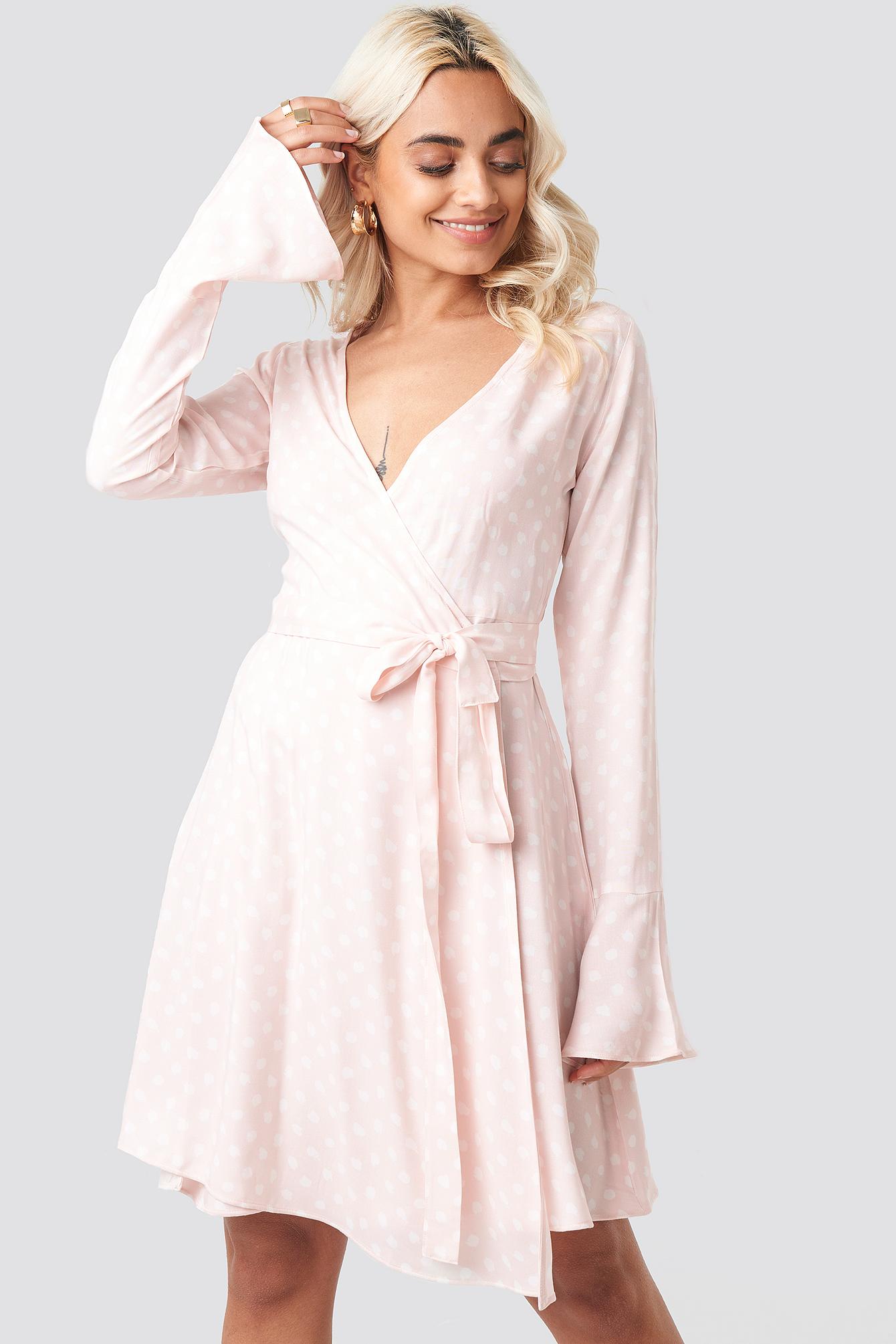 Dot Print Wrap Mini Dress NA-KD.COM