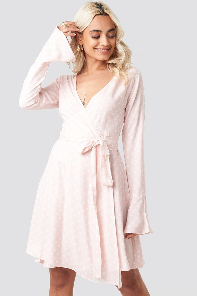 Dot Print Wrap Mini Dress Pink