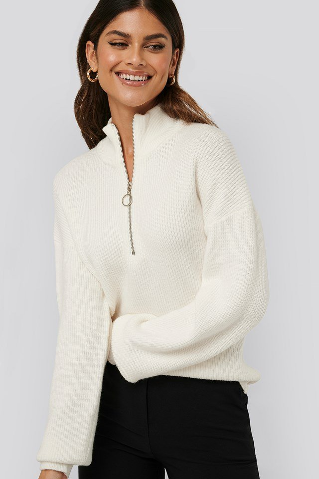 Front Zipper Knitted Sweater Offwhite