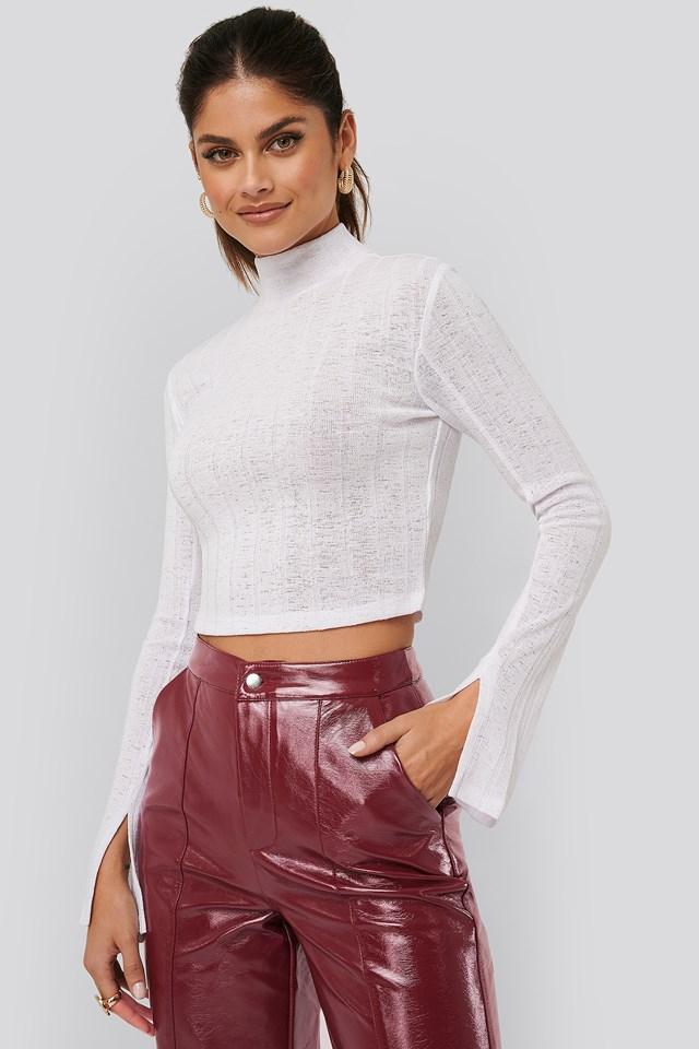 Ribbed Slit Sweater White