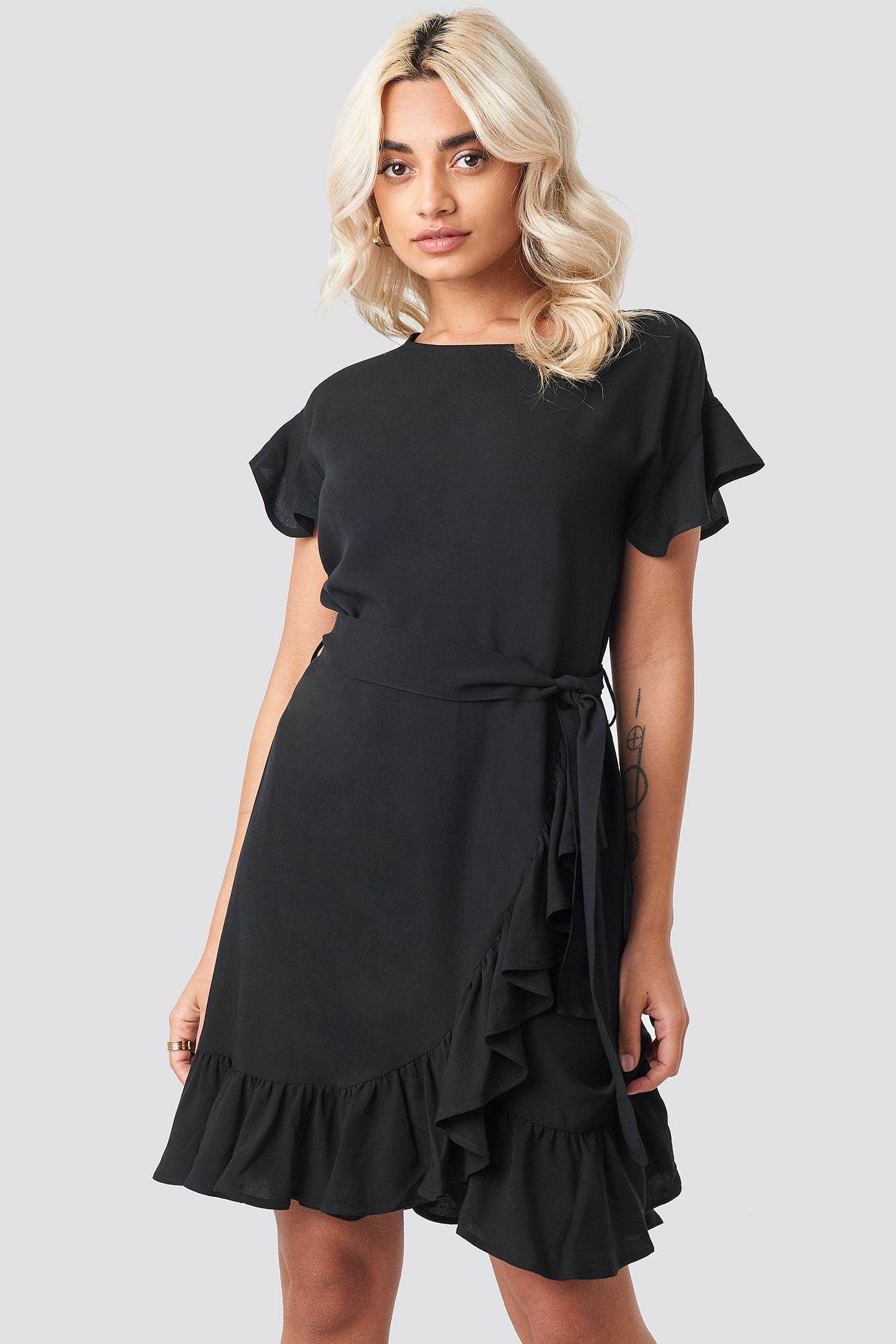 Ruffle Wrap Mini Dress NA-KD.COM