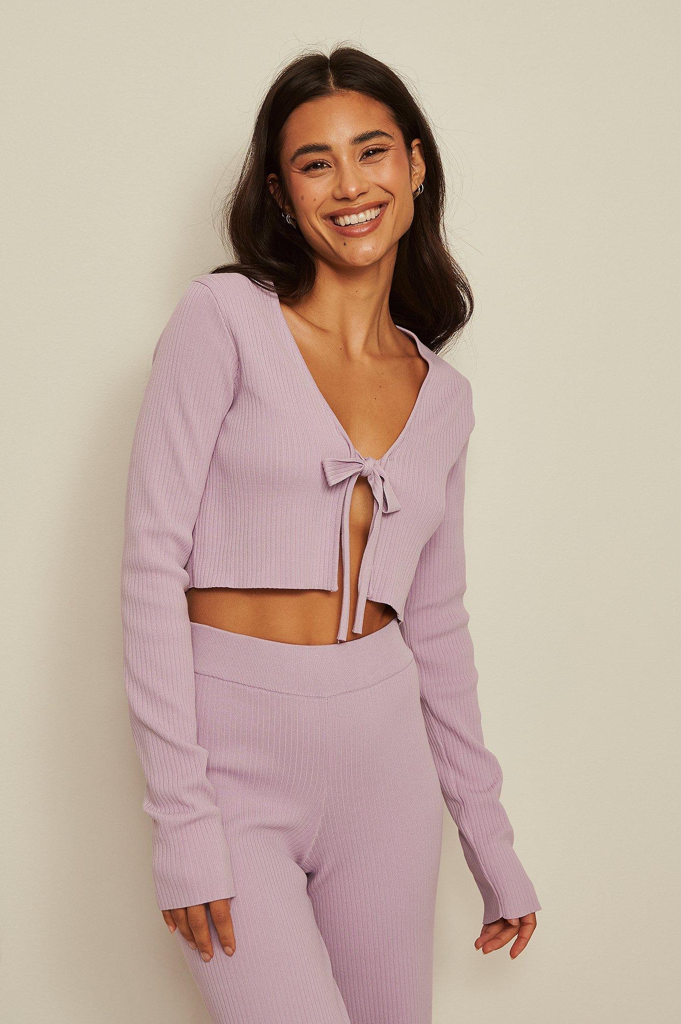 Amaka Hamelijnck x NA-KD Strikket Cardigan Med Binding Foran - Purple
